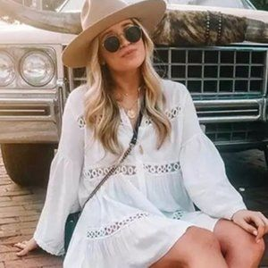 Jolie Bohemian Lace Long Sleeve Tunic Dress